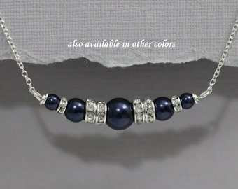 Navy Pearl Necklace, Swarovski Night Blue Navy Bridesmaid Necklace, Navy Pearl Necklace, Dark Blue Wedding Jewelry, Mother fo the Bride Gift