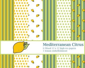 Digital Papers Printable Papers Scrapbook Papers - Mediterranean Citrus