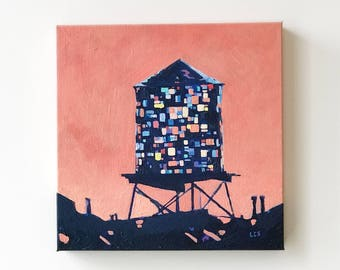 SOLD Painting: Brooklyn Stained Glass Water Tower (Pink)