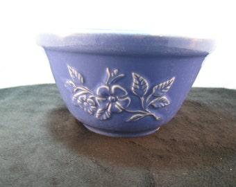 Cobalt Blue Flower embossed bowl, Vintage
