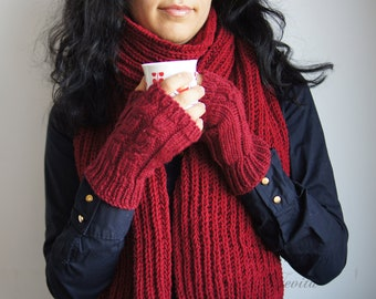 Burgundy red knit scarf, Extra long knit scarf in burgundy,  Warm women's knit scarf
