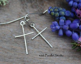 Sterling Silver Cross Earrings, Handcrafted Silver Cross Earrings, Dainty Silver Earrings, Christian Jewelry