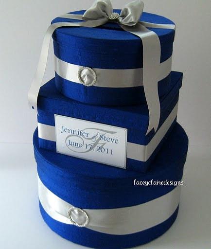 Royal Wedding Gifts: Wedding Gift Box Card Holder Royal Blue Silver Custom Made
