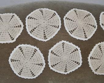 "Set of 8 Handmade Crochet Round Doilies 6"" Vintage"