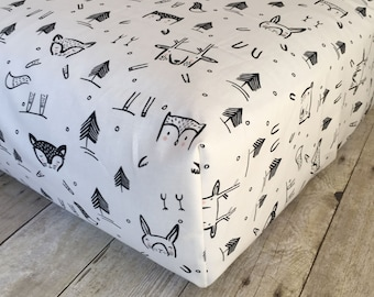 Black and White Woodland Crib Sheet - Fitted Crib Sheet - Crib Sheet - Baby Nursery - Modern Crib Sheet - Crib Bedding - Woodland Nursery