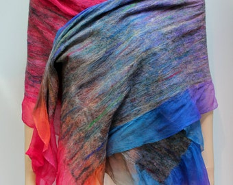 Nuno Shawl-Scarf felted sheer cashmere-soft  merino silk Vibrant Colors - In Stock - Fast Ship Gift