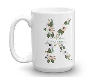 Custom Floral Initial Mug • Ceramic Mug • 15 oz Mug • Large Ceramic Mug • Coffee Mug • Personalized Mug • Mug with initial • With Flowers