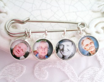 Gift for Groom Memory Charms on Kilt Lapel Pin Wedding Photo Gift for Him Memory Keepsake Sympathy Gift Photo Charm Brooch for Grandmom Gift