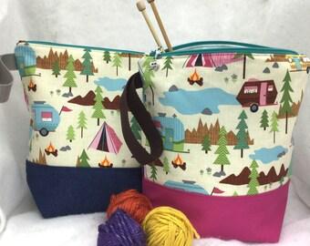 Campfire Knitting Bag, Camping Knitting Bag, Campfire Crochet Bag, Yarn Bag, Knitting Project Bag,