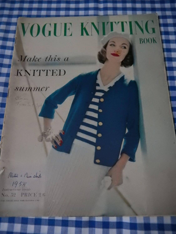 Vintage Vogue Knitting Book - No. 52 1959, Original Copy.Knitting ...