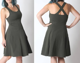 Khaki jersey dress, Army green flared dress with crossed straps in the back, Khaki womens dress, Sleeveless green dress, Empire waist, MALAM