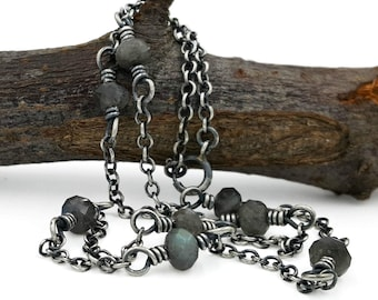 Rustic Necklace, oxidized silver chain with gray blue stones, boho choker or long layering necklace, handmade jewelry, Maisy Grace Designs