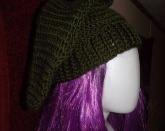 Forest Green Crochet Elf Hat