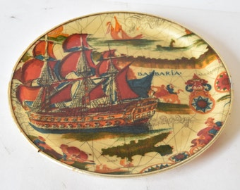 Retro 1960's Round Serving Tray Nautical Pattern Nice Condition