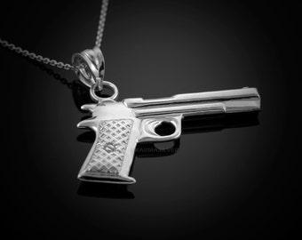 Sterling Silver Pistol Gun Pendant Necklace