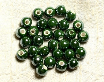 10pc - beads porcelain ceramic balls 8 mm iridescent khaki - 4558550008978 Olive Green