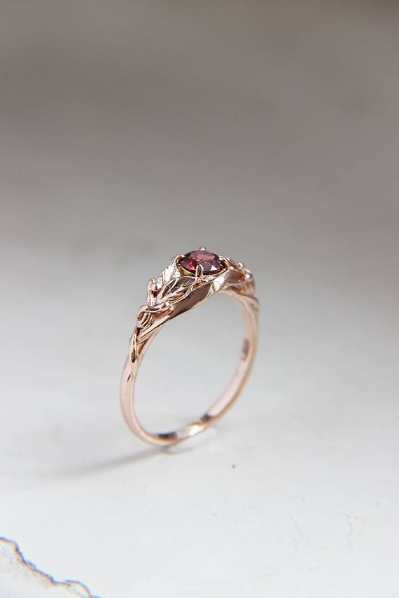 Garnet rose gold engagement ring, Custom proposal ring, Leaves nature ring, Gold ring, Unique engagement jewelry, Wife or bride ring gift