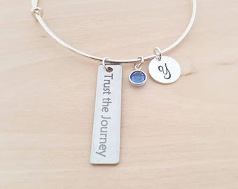 Trust The Journey Charm - Silver Adjustable Bangle  -  Personalized Initial Bracelet - Swarovski Crystal Birthstone Jewelry - Gift For Her