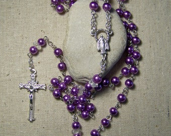 Handmade Catholic rosary with orchid purple glass pearls in silver
