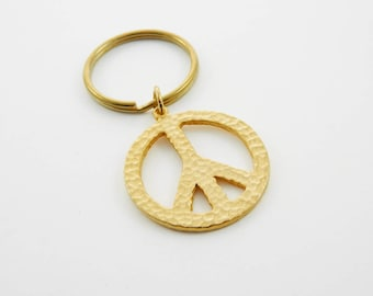 Gold Peace Sign  Keychain