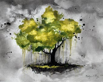 Landscape painting 8x12in, A4 - canvas sheet - green tree and gray sky 4