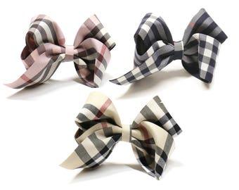 Checkered Fabric Hair Bows, Hair Elastic French Barrette, Hair Bows for Women, Hair Bows for Girls