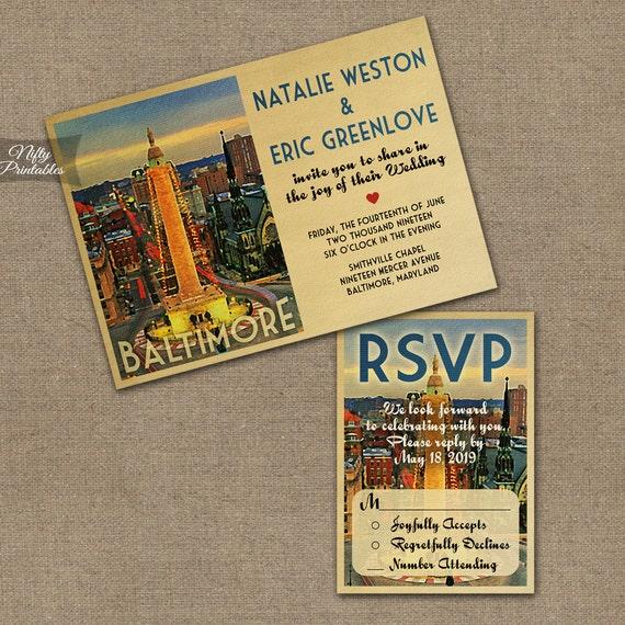 Wedding Invitations In Maryland: Items Similar To Baltimore Wedding Invitations