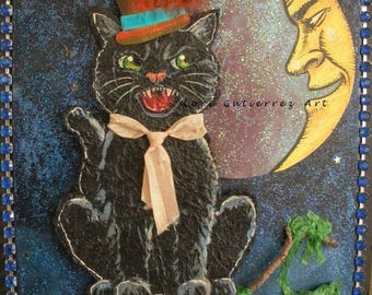 The Cat and the Moon Original Artwork by Lori Gutierrez OOAK!!