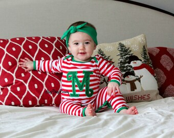 Christmas Pajama Personalized Initial Monogram Baby Boys Girls Red And White Striped Infant Romper Full Piece Long Or Short Sleeve