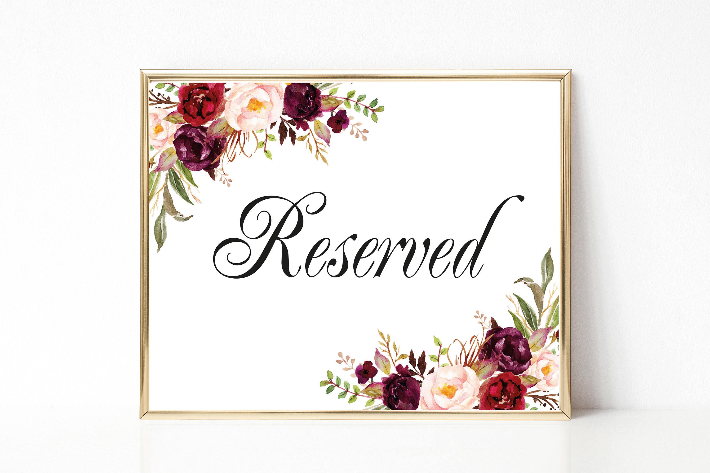 reserved sign wedding reserved table sign reserved card. Black Bedroom Furniture Sets. Home Design Ideas