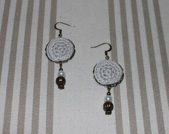 Gray cotton crochet bead and bronze metal earrings