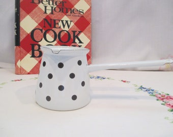 White and Black Polka Dot Enamel Ware Turkish Coffee Pot, Pitcher, Ladle made in Slovenia