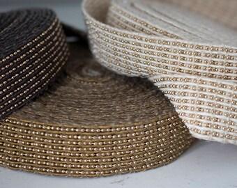 25 mm Beautiful cotton  strap  with mini gold beats