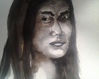 Black and white watercolor painting / portrait of the world