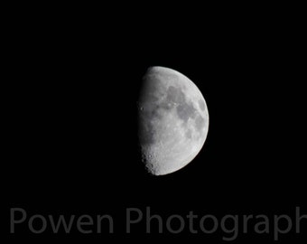 Astro Photography of the Moon in half Shadow, High Resolution, Detailed, Digital Download, Background, Desktop, Night, Photo, Image, Black