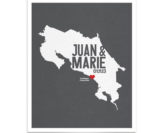 Costa Rica Personalized Wedding Gift - State Map Print - Bride & Groom Names Date - Bridal Shower Gift - Housewarming - Any State Available