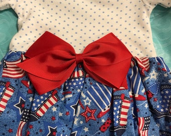 Baby girl 4th of July onesie dress  size 6 mos