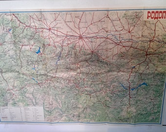 Vintage Overview Map of Mountain RODOPI, Map Bulgarian Mountain, Overview Tourist Map from 1970s, Gift Idea
