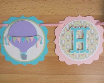 Pastel Hot Air Balloon Birthday Party Shower Banner Sign Aqua Turquoise Pink Purple Green