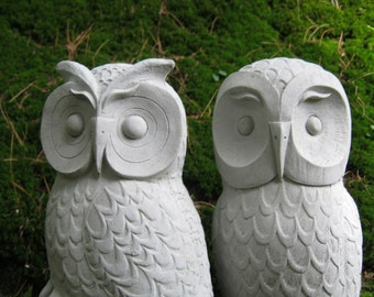 Owls, Cast Stone Garden Owl Statues, Two Concrete Owls, Pair of Cement Owls, Owl Garden Decor, Owl Figures For Outdoors