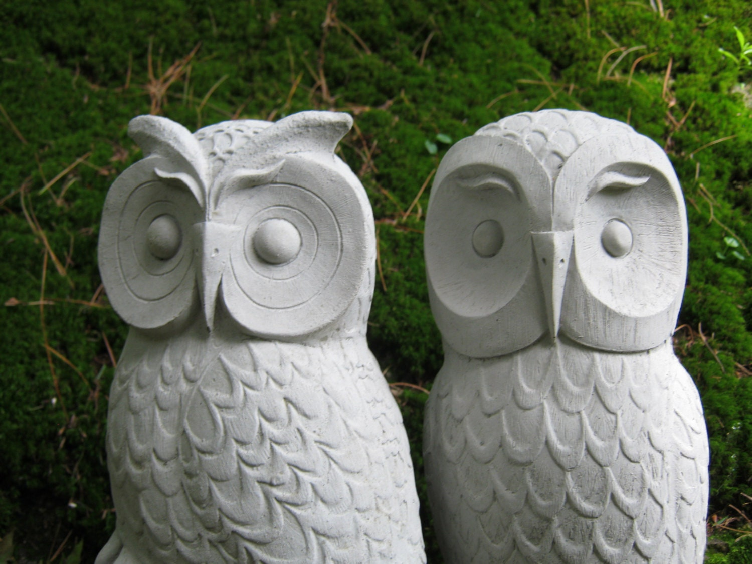 Stone Statues For Garden Owls cast stone garden owl statues two concrete owls pair zoom workwithnaturefo
