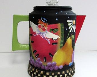 Vintage Coffee Pot, Hand Painted, Folk Art Angel, Watermelon, Pear, Grapes, Daisies, Apple, Peach, Cherries, Brown Bird, Kitchen Decoration