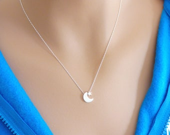 100% Sterling Silver Moon and Star Necklace, Silver Moon Necklace, Dainty Necklace, Star Necklace, Silver Necklace, Mom Necklace