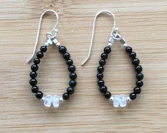Black Tourmaline and Rainbow Moonstone Tuxedo Earrings, Sterling Silver Earrings, Moonstone Jewelry, Black and White Earrings