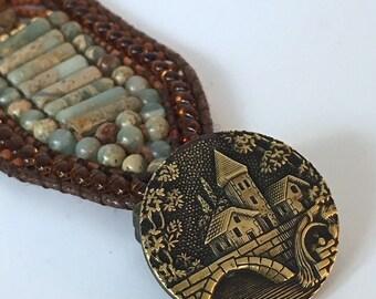 FIRST IMPRESSION, Beaded Cuff, Impression Jasper, Gemstone Bracelet, Cuff Bracelet, Beaded Bracelet, Twinkling Of An Eye, Vintage Button