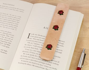 Handmade Leather Bookmark, Rose Bookmark, Leather Anniversary Gift For Wife, Red Roses Leather Book Mark, 3rd Anniversary Gift, Friend Gift