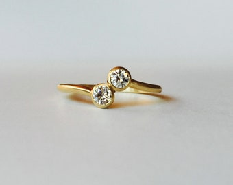 14k Gold Moissanite 2 Stone Wedding Ring ~ Mothers Ring ~ Size 5 Ready To Ship