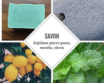 Exfoliating pumice, peppermint and lemon
