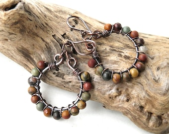 Stone beaded earrings - natural beads copper wire wrapped hoops