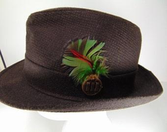 Vintage Brown Men's Wool Fedora Hat - United Hatters, Caps & Millinery